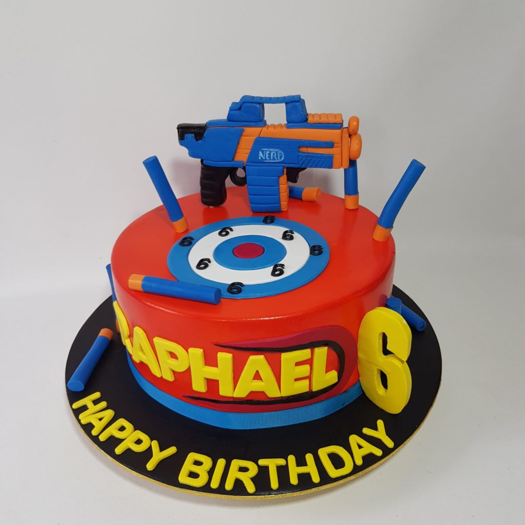 Nerf A4 Birthday Cake Topper with Any Name