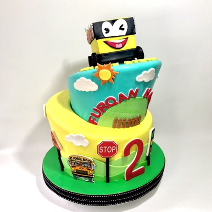 Excellent The Wheel On The Bus Wonky Cake Sooperlicious Cakes Funny Birthday Cards Online Barepcheapnameinfo