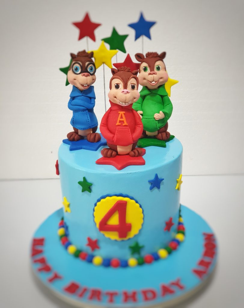 Cool Alvin And The Chipmunks Theme Birthday Cake Sooperlicious Cakes Funny Birthday Cards Online Alyptdamsfinfo